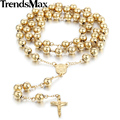 Trendsmax Fashion 4/6/8/10mm Stainless Steel Bead Chain Rosary Jesus Christ Cross Pendant Long Necklace Mens Chain KN364-KN374