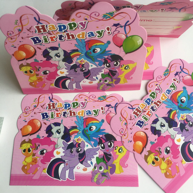 Diweini 10pcs Cute Little Pony Iviting Cards Cartoon Card Birthday