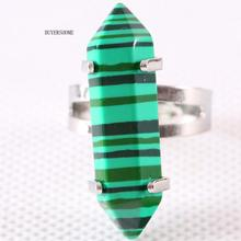 Adjustable Gift Ring Girls Party Hexagonal Bead Natural Green Malachite Stone Round Circle Valentines Gift 1PC Z068