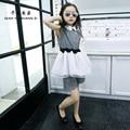 QYSZ Мода Лето Dress Набор отложным Воротником Похудения Dress Детей Nice Dress + 4-15лет Детей наборы