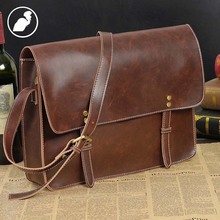ETONWEAG New 2016 men famous brands cow leather casual laptop fashion shoulder bags brown cover preppy style messenger bags