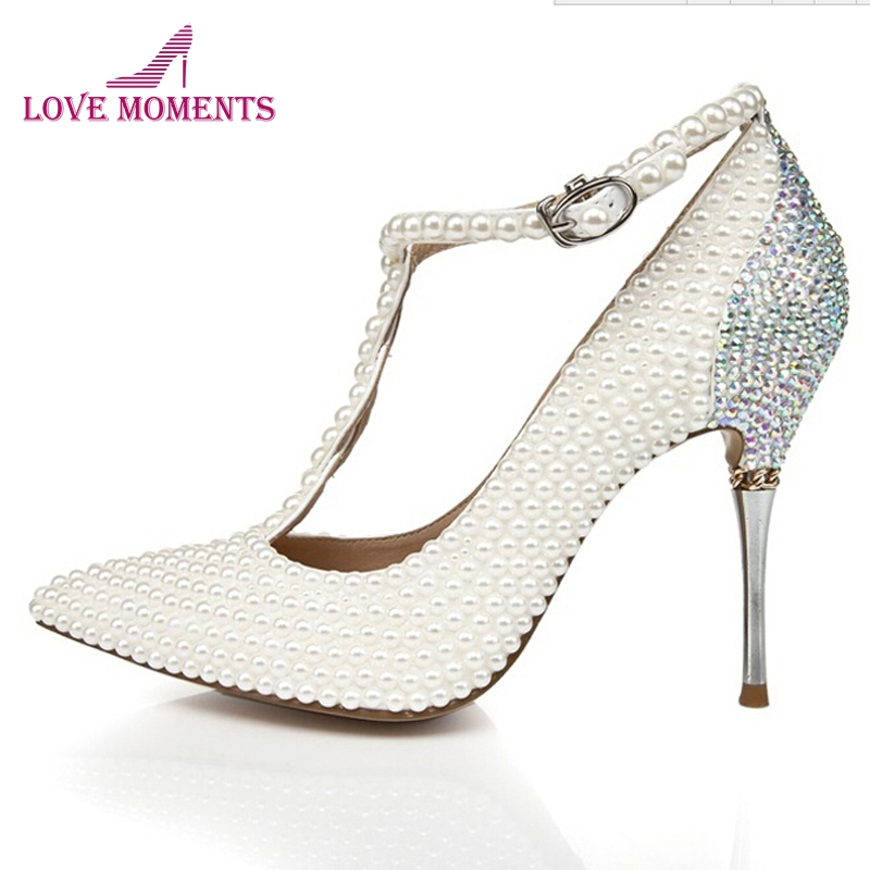 5fafe73e512a 2018 T-strap Ivory Wedding Shoes with Rhinestone Pointed Toe Stiletto Heels  Nightclub Club Shoes