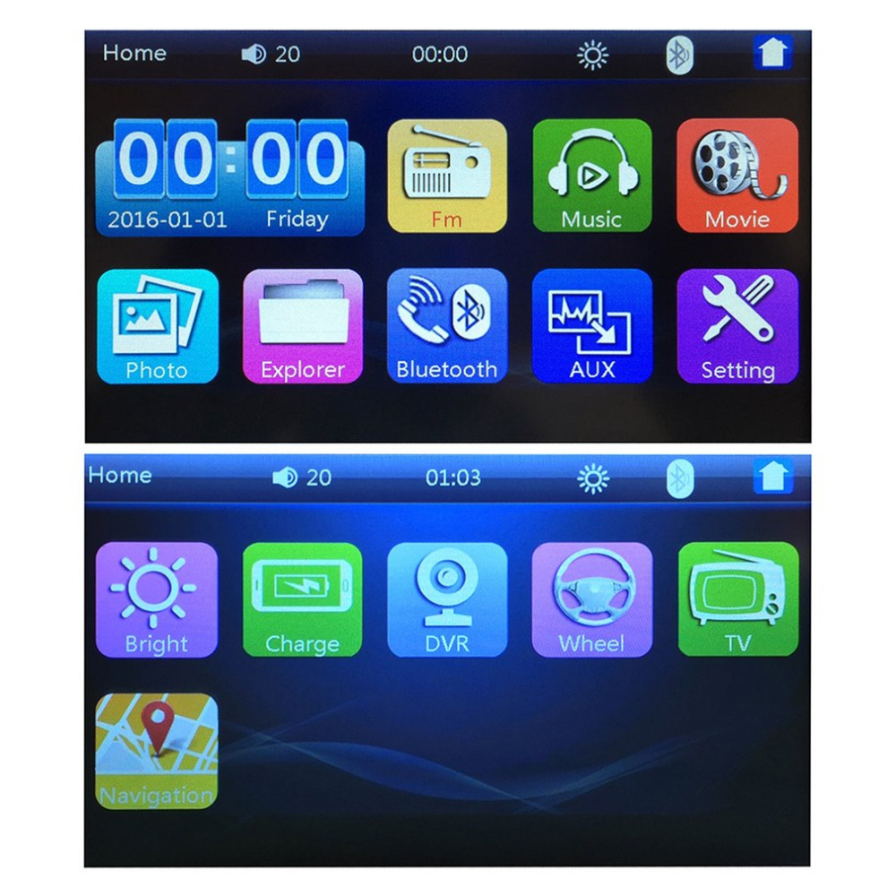 Foval 7023B 2 Din Car MP4/MP5 Player 7 Inch Touch Screen TFT Media Radio Bluetooth MP5 Player Rear View Camera Input