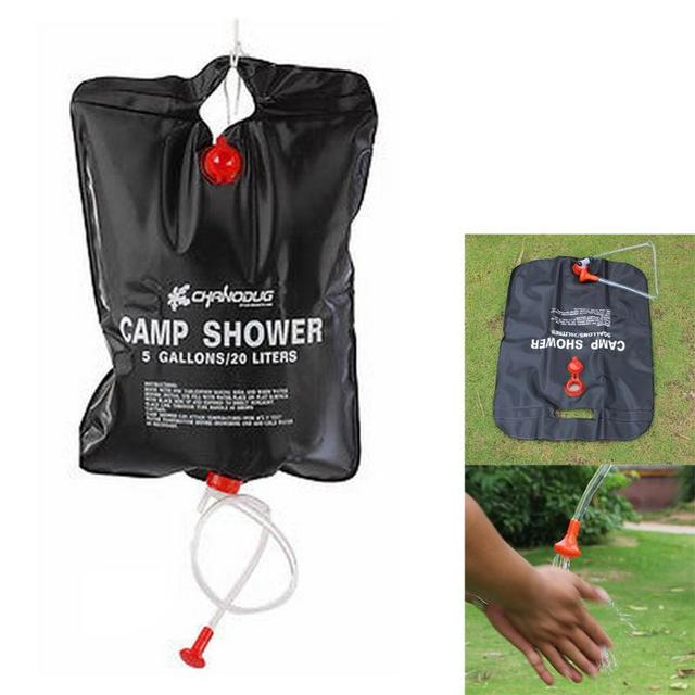 20l Camp Shower Bag Outdoor Camping Hiking Solar Energy Heated Travel Portable Water Pvc