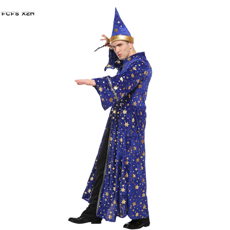 Men Magic gown Master Sorcerer Magician Cosplays Halloween Wizard Costumes Carnival Purim Festival parade Nightclub party dress