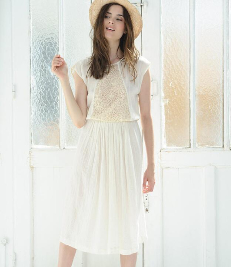 Women Lace Patchwork Back Hollow Out Light Cotton Sweet Cream Mini Robe Dress