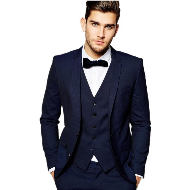 US $86.4 10% OFF|New Style Two Button Navy Blue Groom Tuxedos Notch Lapel Groomsmen Best Man Mens Wedding Suit (Jacket+Pants+Vest+Tie) W:158 in Suits