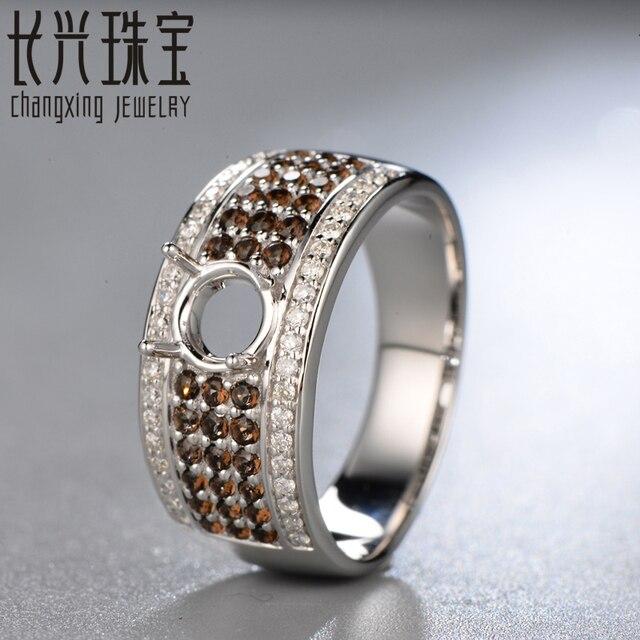 5.5mm forma Redonda 14 K oro blanco Natural 0.61ct Diamond smoky topaz Anillo de Compromiso Joyería