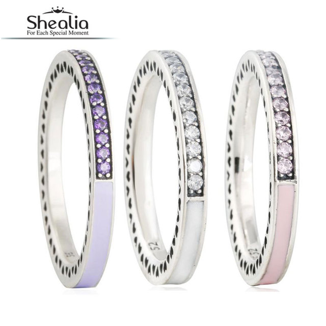 SHEALIA 3 Colors 925 Sterling Silver Enamel Radiant Hearts Rings For Women AAA Zirconia Stone Engagement Finger Ring 2016 Autumn