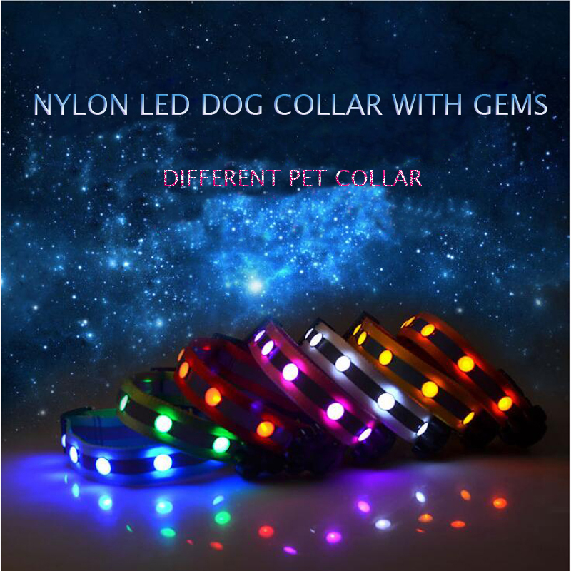 New Arrival 2.5cm Nylon Gem LED Pet Collar Glowing Reflective Dog Collar For Small And Medium Dogs