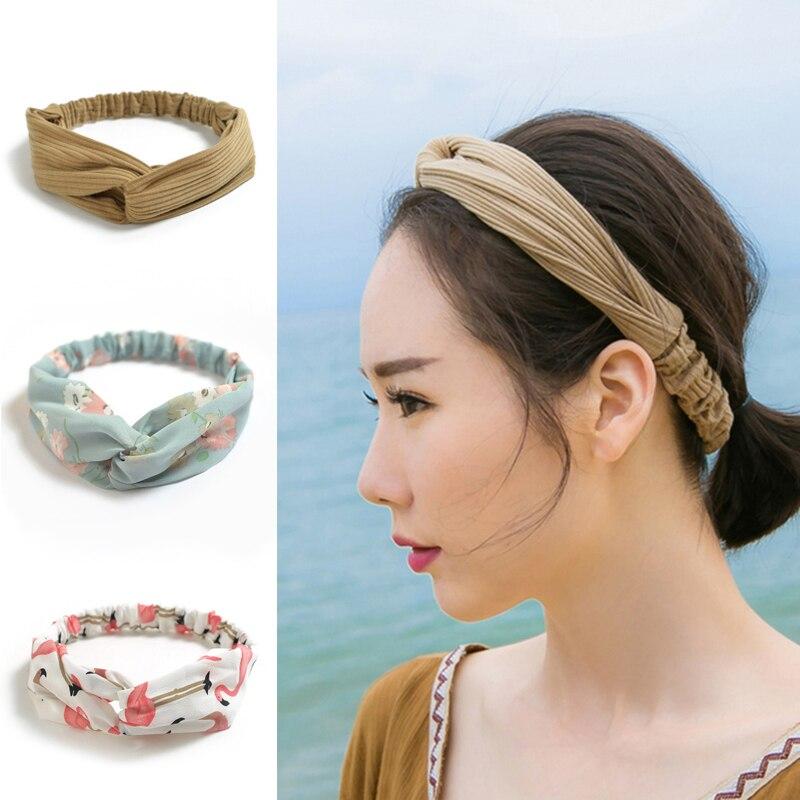 Women Retro Velvet Knot Twist Bandage Headband Wide Elastic Hair Band Turban