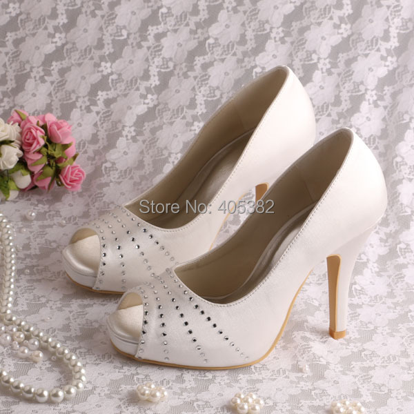 666bfa3d790 Wedopus Top Quality Designer White Satin Wedding Bridal Shoes High Heel  Peep toe-in Women s Pumps from Shoes on Aliexpress.com