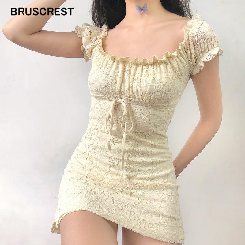 Summer Dress 2020 Vintage Boho Casual Lace Dress Elegant Mini Sexy Club Bow Tie Tunic Off Shoulder Ruffle Dress Vestidos