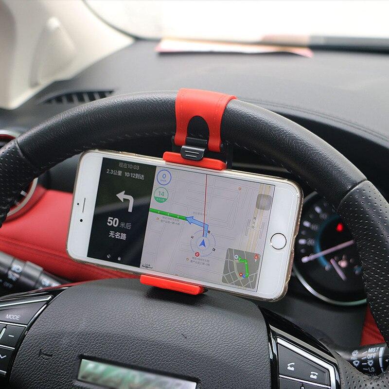 Car Steering Wheel Car Phone Holder Stand GPS Navigation Drive Bike Handlebar Clip Mount Bunt Bracket For IPhone Samsung Xiaomi