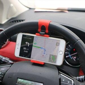 Car Steering Wheel Car Phone Holder Stand GPS Navigation Drive Bike Handlebar Clip Mount Bunt Bracket For iPhone Samsung Xiaomi(China)
