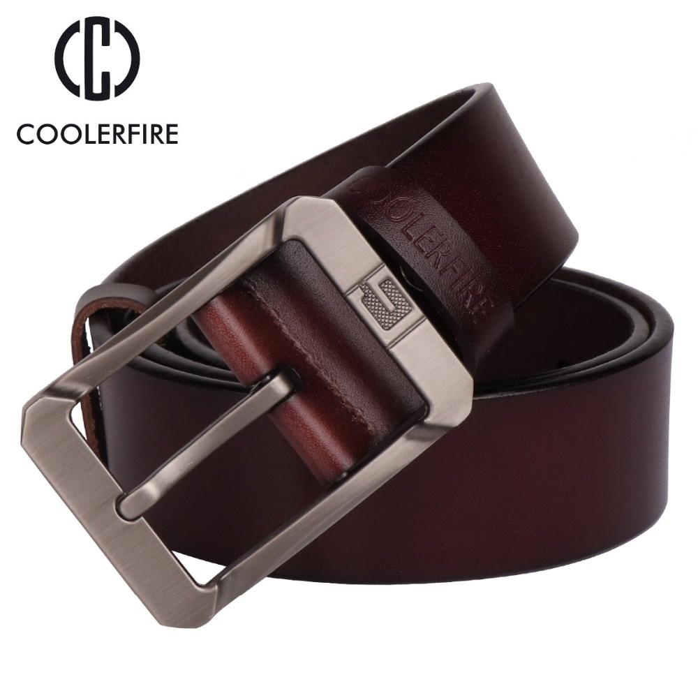 Coolerfire genuine leather belts for men brand male pin buckle jeans cowboy Mens Belt Luxury Designer High Quality Leather belt