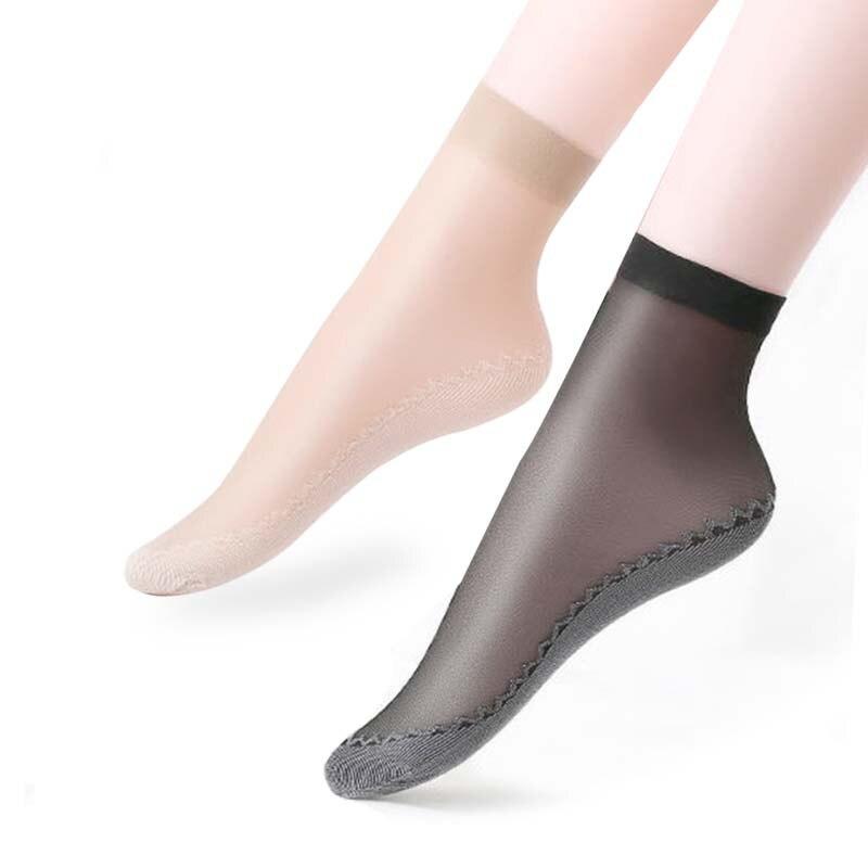 10 Pairs/ Lot New Velvet Silk Womens Socks Cotton Bottom Soft Non Slip Sole Massage Wicking Slip-resistant Summer Socks Women