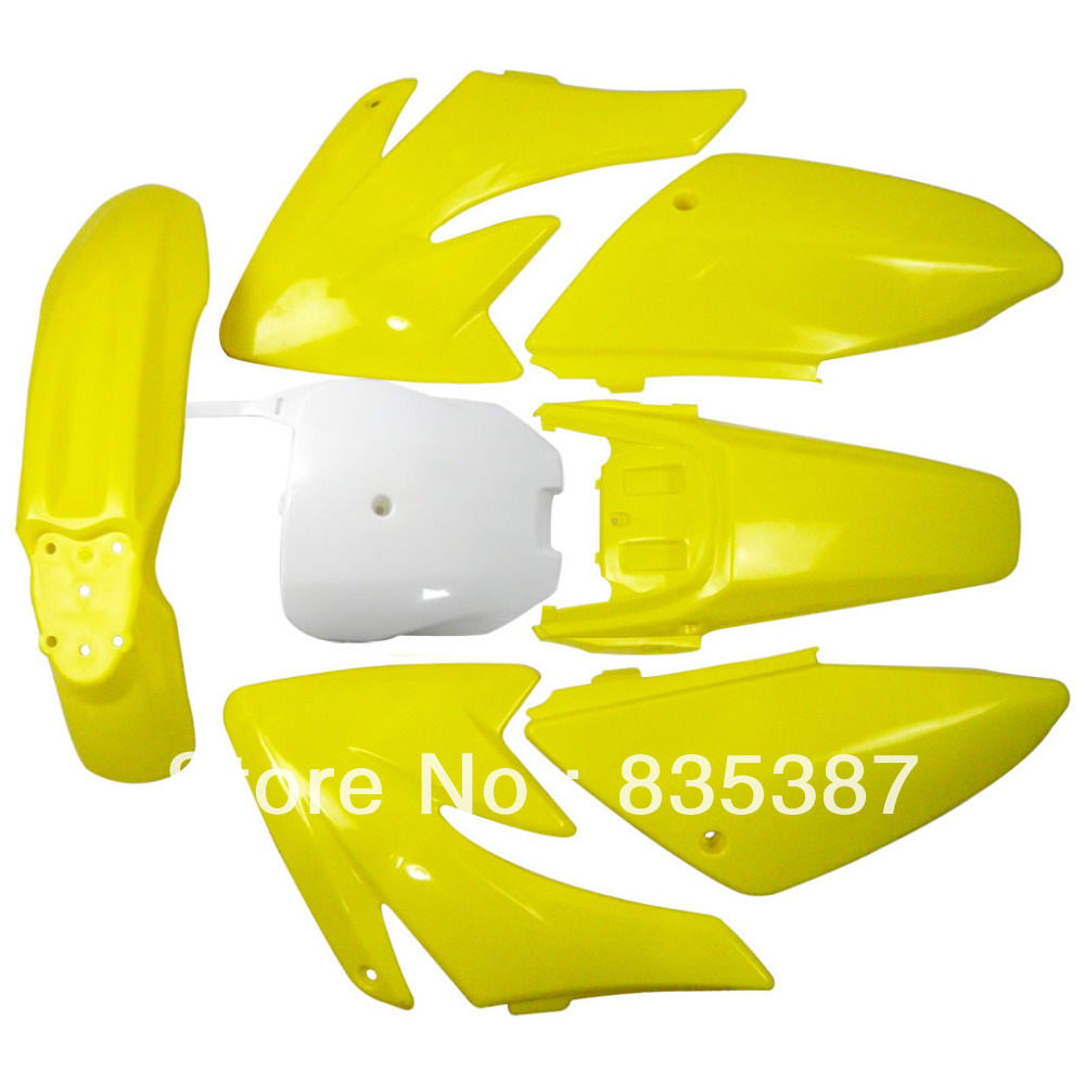 Мотоцикл Байк тела Пластиковые крыло для 70 CRF70 crf с 6+1 желтый+Бе