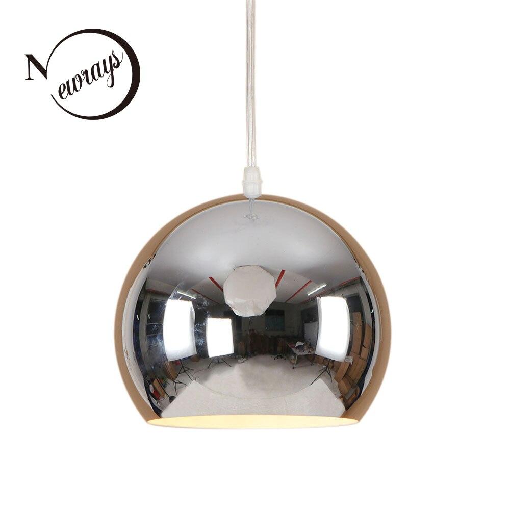 Simple modern iron plated mirror pendant light LED E27 creative loft hanging lamp for living room restaurant kitchen bedroom bar цена