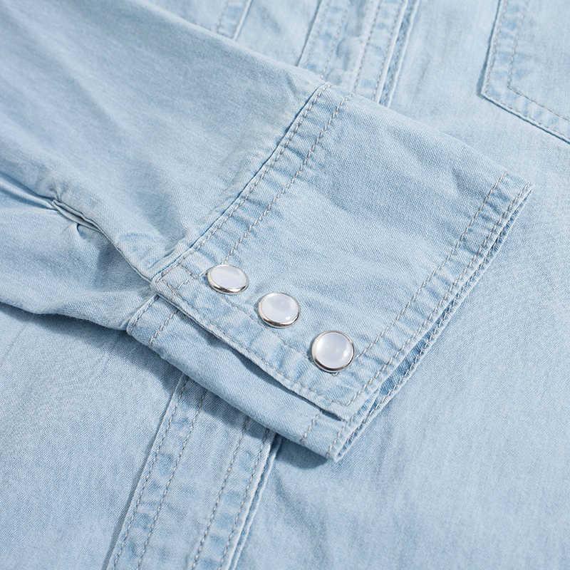デニムシャツ女性秋 2019 青とスカイブルーの服プラスサイズのシャツダブルポケット長袖ブラウスエレガントなシャツ