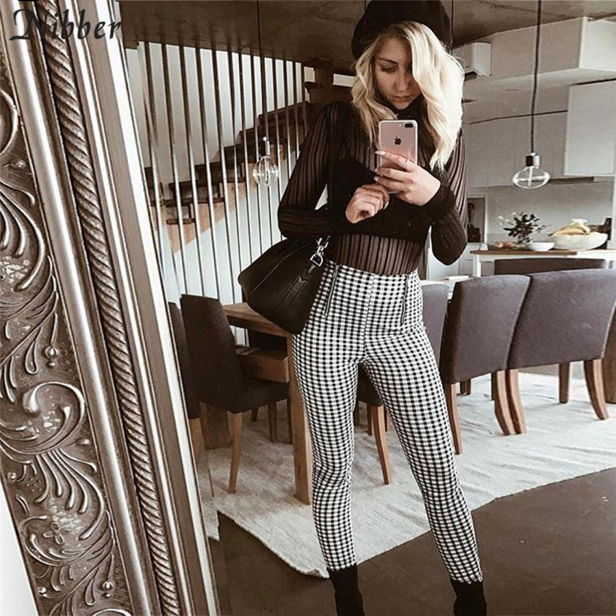 Nibber Fashion Cotton Comfortable Women Plaid Pants 2019 Hot Simple Sweatpants Side Stripe Trousers Casual Elastic Pants Joggers