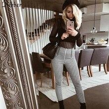 Nibber moda bawełna wygodne damskie spodnie w kratę 2019 gorące proste spodnie dresowe boczne paski dorywczo elastyczne spodnie biegaczy