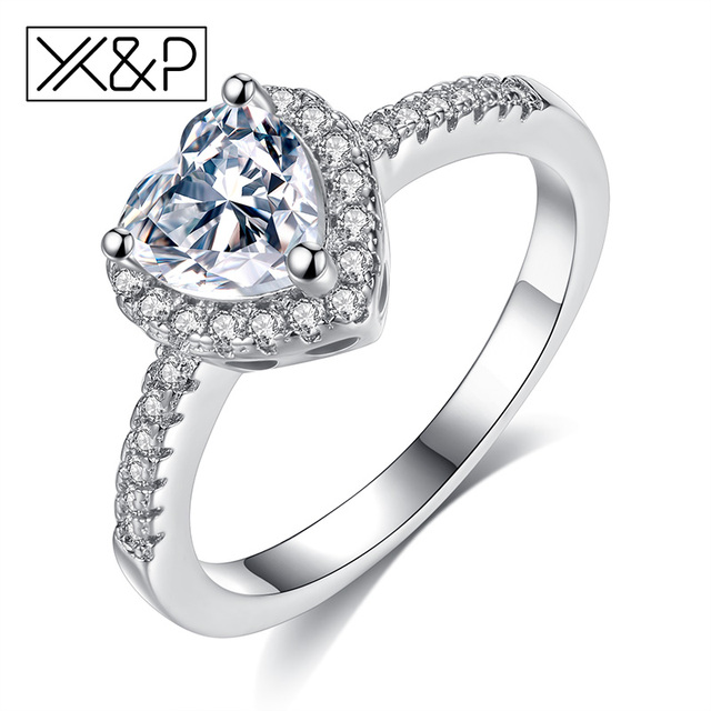 X&P Fashion Luxury Silver Plated Crystal Rings for Women Girl Bridal Wedding Lov