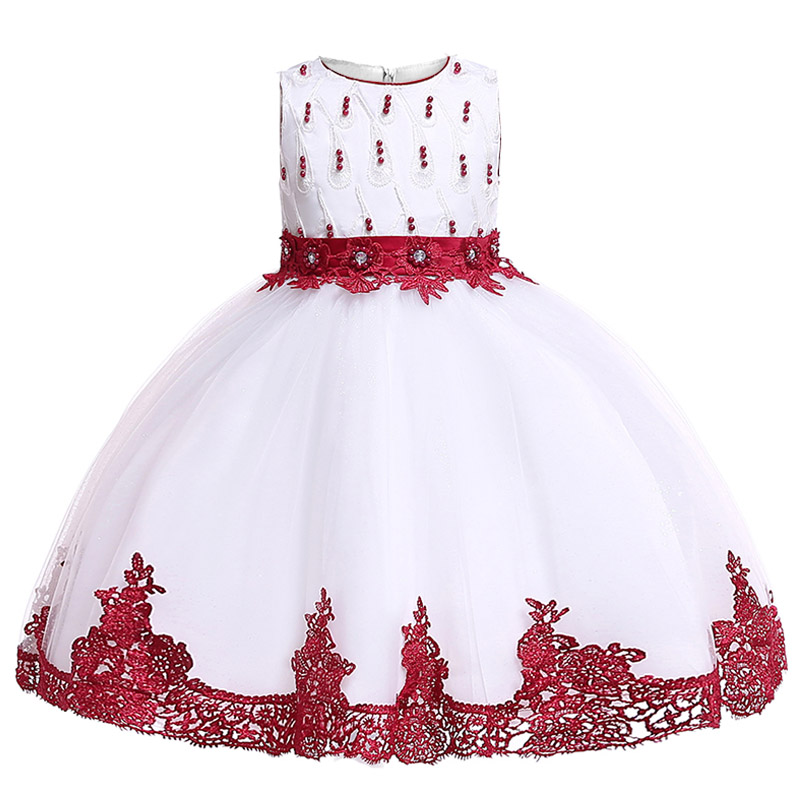 Mesh Beading Baby Costume Girls First Communion Dress Ball Gown For Kids Pageant Clothes Elegant Clothes Children's Clothing