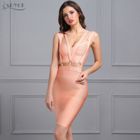 Adyce 2017 New Women Summer Mini Dresses Sexy V Neck Sleeveless Vestidos Pink Hollow Out Celebrity