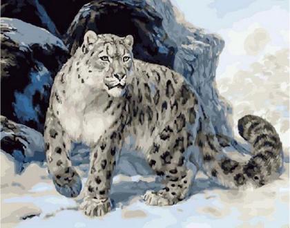Macan Tutul Salju Minyak Lukisan Oleh Nomor Cat Akrilik Dekorasi