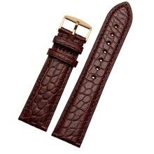 16mm18mm19mm20mm21mm22mm wysokiej jakości Alligator pasek ze skóry z prawdziwej skóry Watchband męska czarny brązowy bransoletka zespół