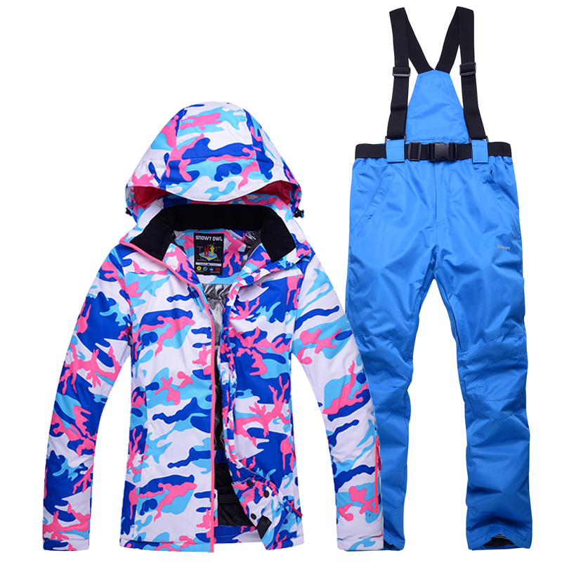 цены -30 Cheap camouflage winter Snow clothing Women skiing snowboarding suit set windproof waterproof outdoor Ski jackets+bisb pants
