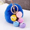 2016 new trinket Keychain pompons Macaron keychains fur Keychain fluffy key chains for cars keyrings trinkets pom pom keychain
