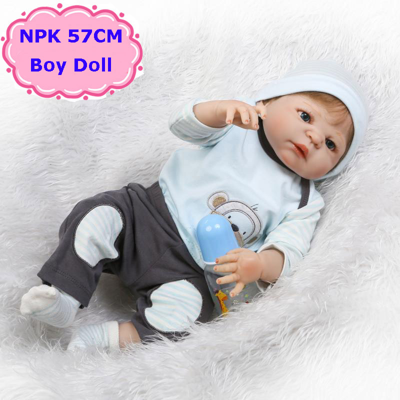 NPK 22 Reborn Baby Doll Alive Full Silicone Bebe Reborn Boy Doll Boneca Can Enter Into Water Cute Kids Toys Best Gift To Child 22 full body silicone vinyl boy girl dolls reborn fake reborn babies dolls for children gift can enter water bebe alive boneca
