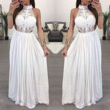 Hot Women Ladies Maxi Summer Long Evening Party Dress Beach Dress Sundress White Wine Red Clothes 1