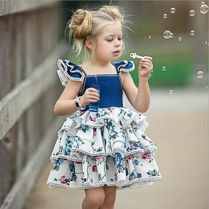 2018 Summer Girls Dresses Todder Bebe Sleeveless Denim baby Dress Children Kids Lace Layered Dress Fly Sleeve Children Clothes