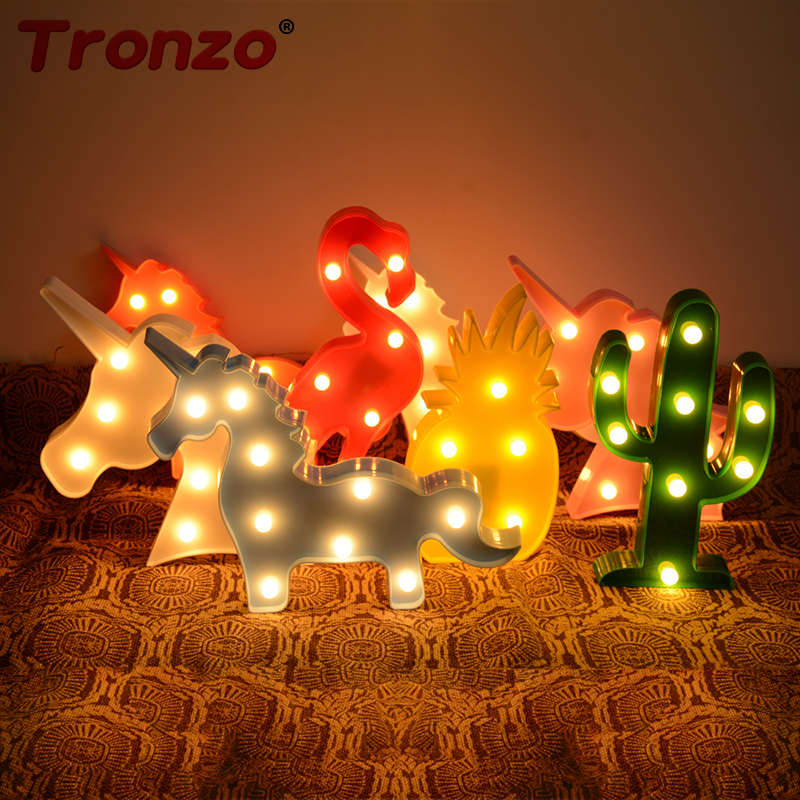 1Pcs Flamingo Led Light Christmas Wedding Decoration For Home Marquee Unicorn Head Pineaapple Lantern Party 3D Night Lamp