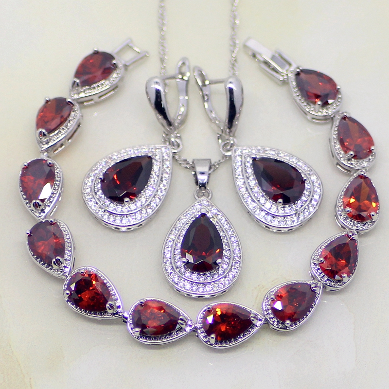 Honest Water Drop Red Garnet Zircon White Cz 925 Sterling Silver Jewelry Sets For Women Wedding Earrings/pendant/necklace/bracelet Wedding & Engagement Jewelry Jewelry & Accessories