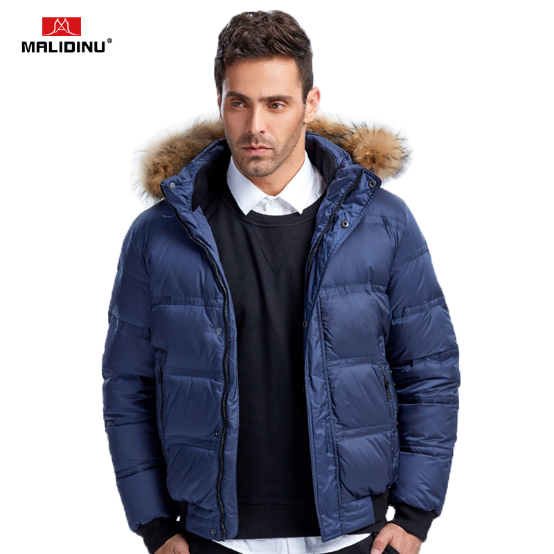 MALIDINU 2018 Fashion Men   Down   Jacket 70%White Duck   Down   Winter Thick   Down     Coat   Brand Winter Jacket Fur Collar Free Shipping