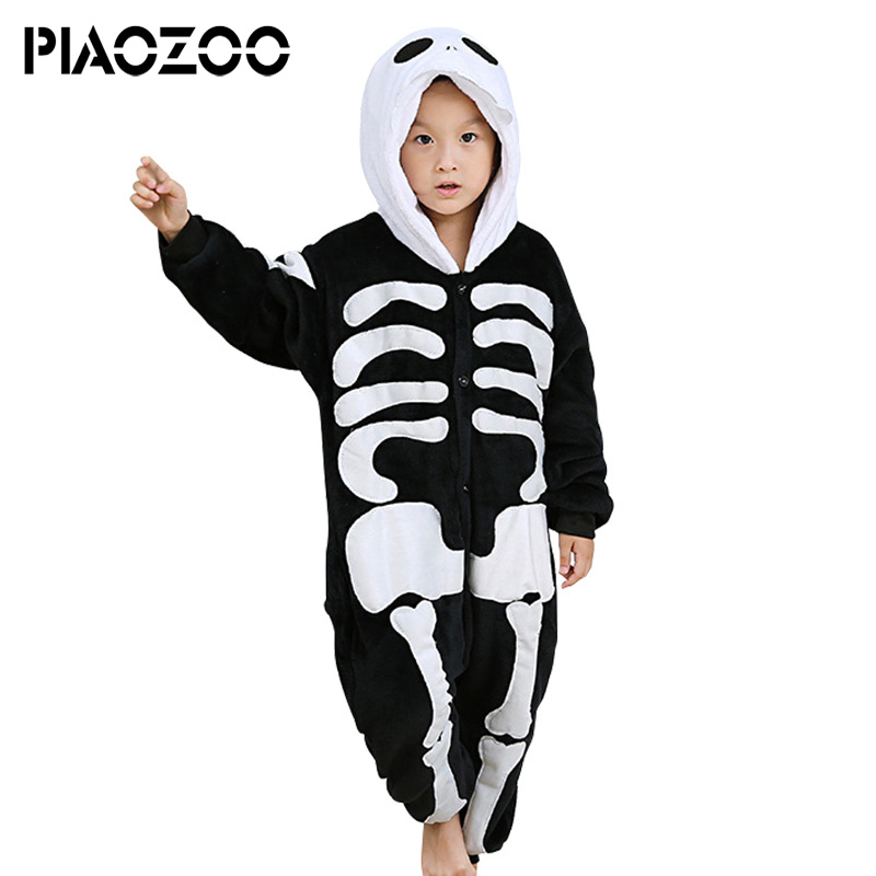 Skull Skeleton fleece hoodie kid pajamas sleepwear plus size scary halloween winter cosplay Overalls Jumpsuit pajamas animalP20