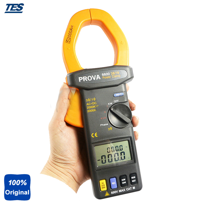 PROVA-6600 AC/DC True Power and True RMS AC Voltage and Current Power Clamp Meter ...