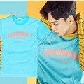 2017 New Hot EXO KPOP Summer coat Korean version men and women sky blue Cotton Tee Letters printed Short-sleeved T-shirt