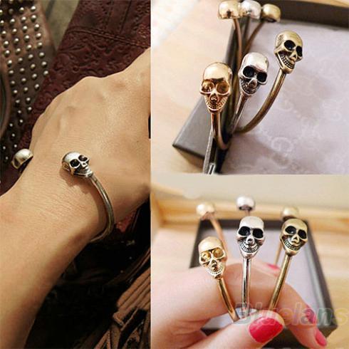 Wholesale Fashion Hot Retro Vintage Cool Punk Rock Double Skeleton Skull  Bracelet Bangle Women Items 0979