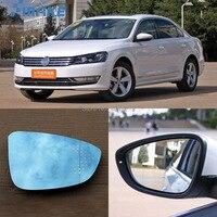 smRKE For VW Volkswagen Passat Car Rearview Mirror Wide Angle Hyperbola Blue Mirror Arrow LED Turning Signal Lights