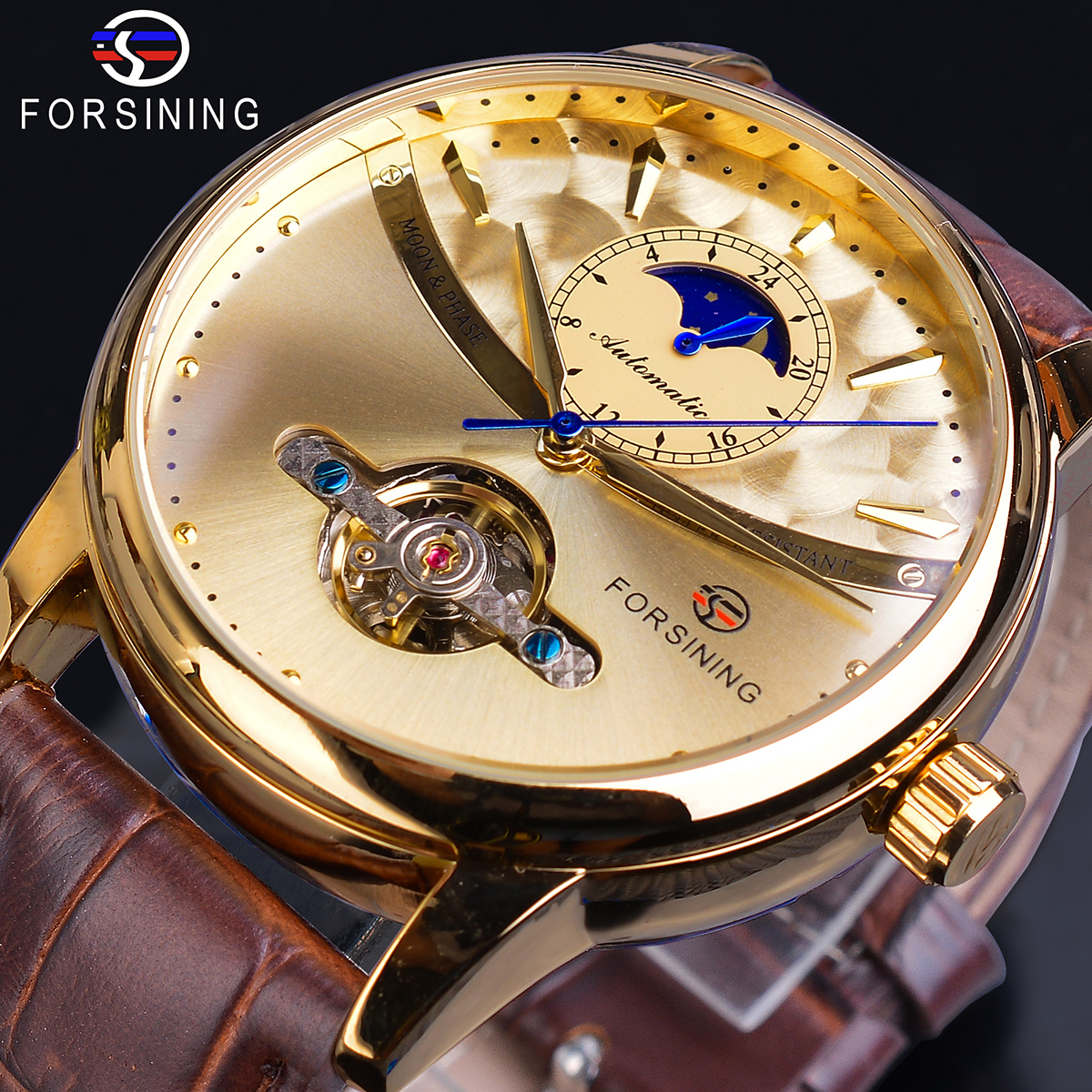 Forsining Moonphase Automatic Watch Royal Men Full Golden Skeleton Mechanical Male Wristwatch Brown Genuine Leather Reloj Hombre