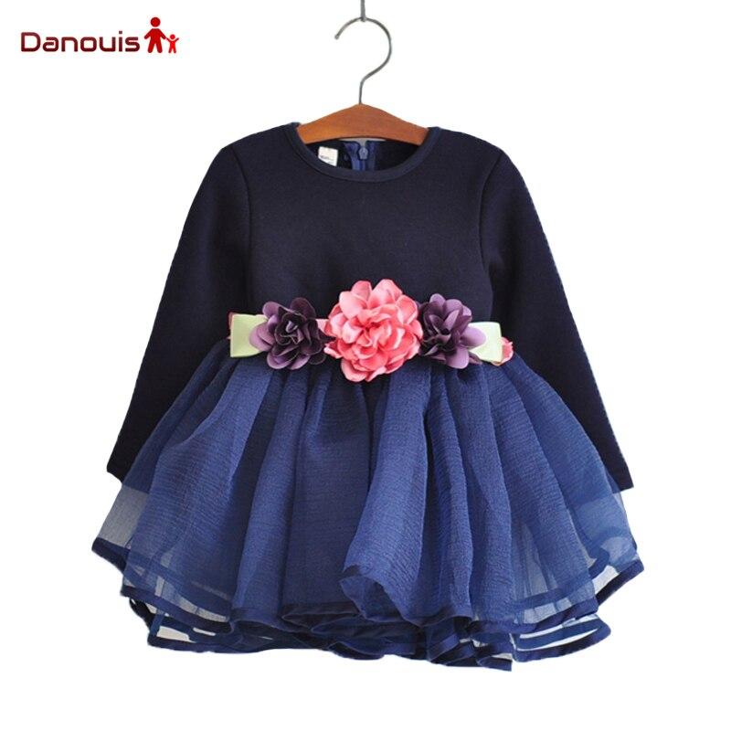 3D Flower Belt Lace valentine dress Long Sleeve Girls ...