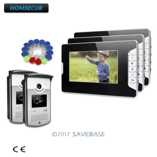 HOMSECUR 7inch Video Door Entry Security Intercom Electric Lock Supported For House/ Flat