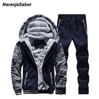 NaranjaSabor 남성 브랜드 의류 남성 재킷 후드 코트 겨울 남성 의류 세트 두꺼워 추가 벨벳 스웨터 운동복 4XL