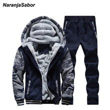 NaranjaSabor Mens Brand Clothing Men's Jacket Hooded Coat Winter Mens Clothing Set Thicken Add Velvet Sweatshirts Tracksuits 4XL