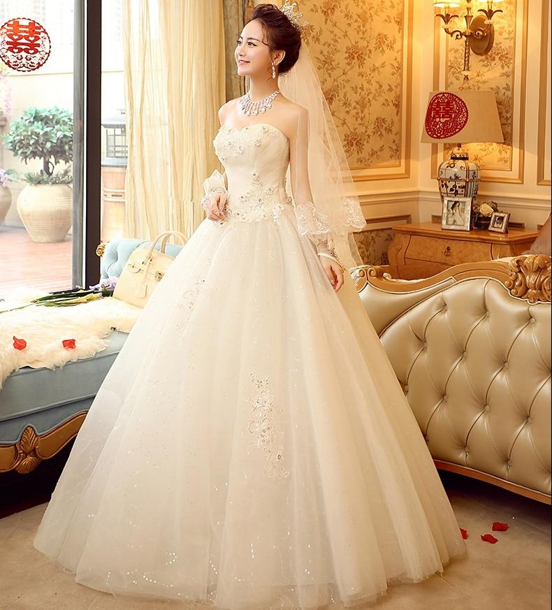Korea Wedding Dress 2017 Strapless Crystal Appliques